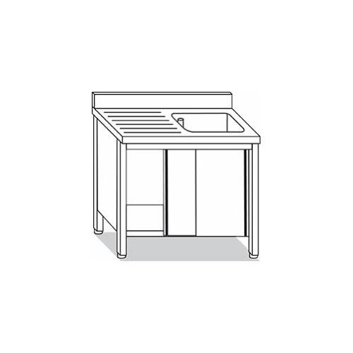 Lavello inox su armadio 1 vasca con gocciolatoio 2 ante for Arredo inox srl