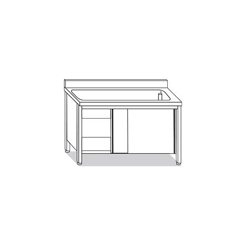 Lavello inox su armadio 1 vasca 2 ante scorrevoli 100 cm for Arredo inox srl