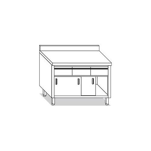 Tavolo armadio con cassetti in alto porte scorrevoli e for Tavolo alto usato